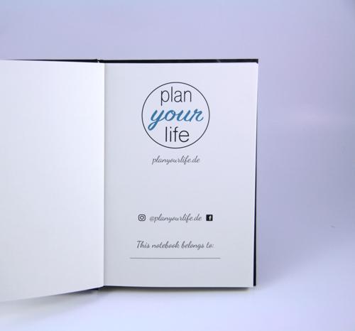 "Notizbuch ""marble black"" Marmor schwarz Planyourlife innen"