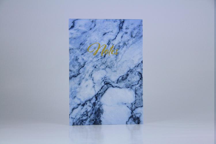 """Notizbuch """"marble blue"""" Marmor blau Planyourlife goldene Schrift"""